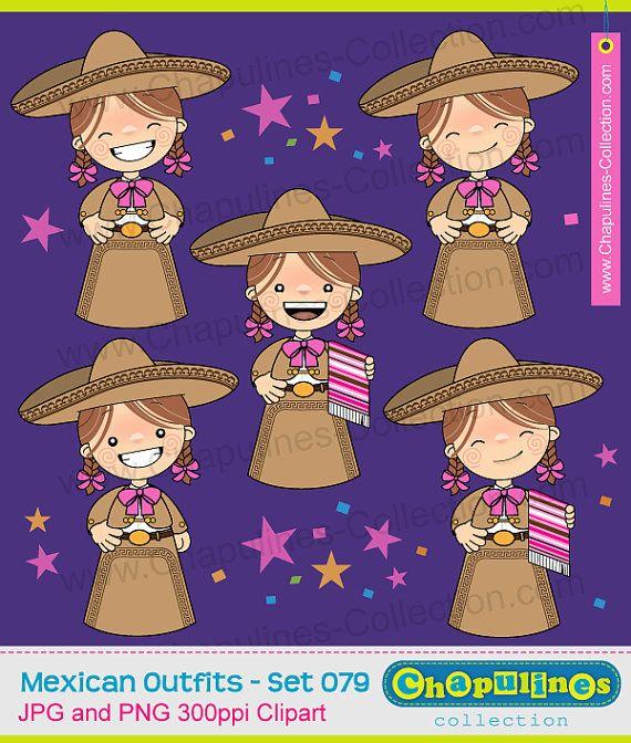 60% desc. Clipart de niñas charras traje por ChapulinesCollection