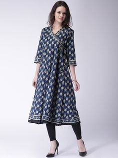 Buy Moda Rapido Navy Printed Angrakha Anarkali Kurta -  - Apparel for Women from Moda Rapido at Rs. 949
