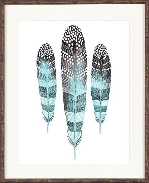 Designer Boys Collections available through Boyd Blue. Oz Feathers Abstract I - Medium - Californian Artist Print Collection - Bamboo Brown Frame www.boydblue.com