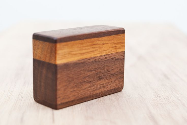 Ring box made from hickory and black walnut wood - engagement ring box - proposal ring box - MADE TO ORDER