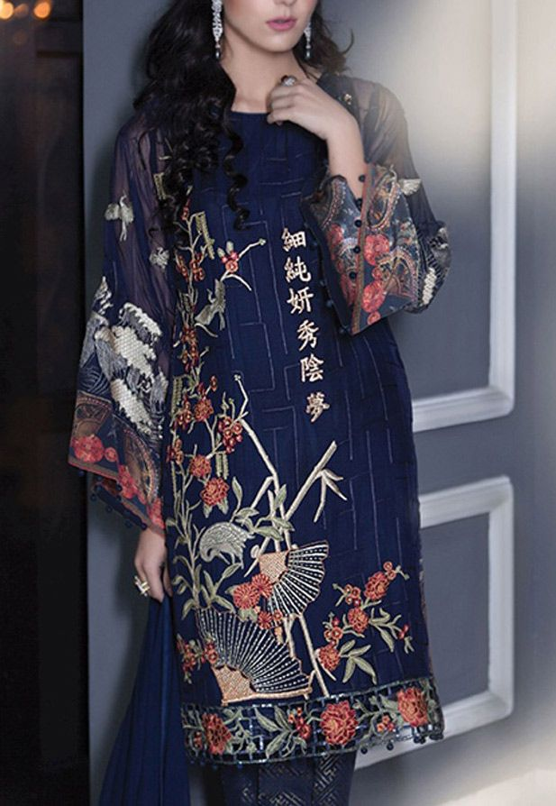 Buy Navy Blue Embroidered Chiffon Dress by Maria B. 2016