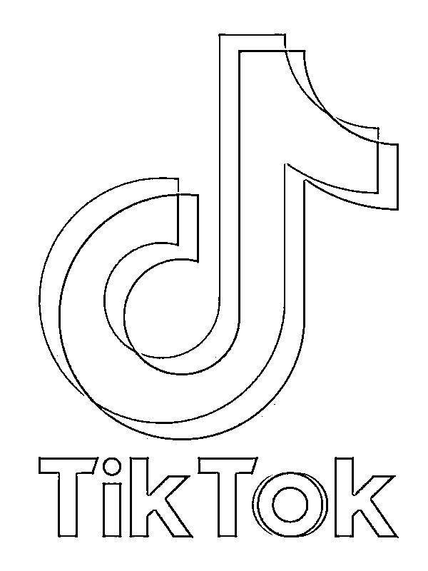Coloring Page Tiktok Logo Logo Outline Widget Design Easy Disney Drawings