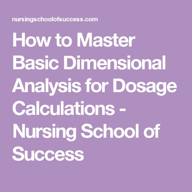 How to Master Basic Dimensional Analysis for Dosage Calculations - Nursing School of Success