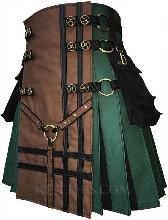 Interchangeable Hunter Green Kilt with Brown Y Design Front Panel Antique Brass Valve Steampunk Conchos Black Flash Pleats Custom Fit Adjustable Many Options. Handcrafted in the USA by the actual designers.  YouTube video of this design; https://youtu.be/XWpwREG10d4  Y Kilts by Kilt This are modern utility kilts for the fashion forward kilt wearer. Each design is made individually with both new and recycled materials to create a design that will be unique to your order. Each st...