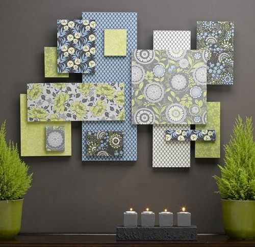 Make some wall art with your fabrics, just cover cardboard and styrfoam to give different dimensions