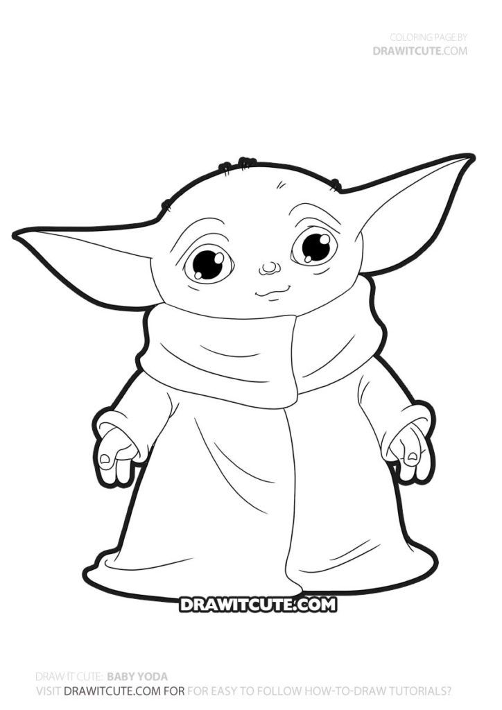 Instructions to draw Baby Yoda from Star Wars' The