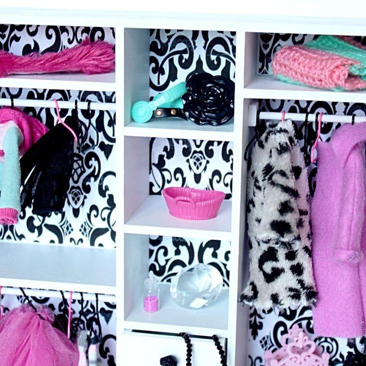 Купить Большой бело-черный шкаф для куколок Monster High и др - кукольный дом