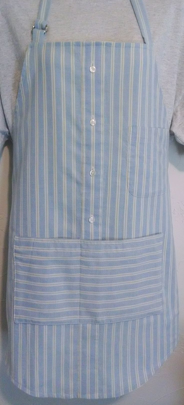 Blue apron quality auditor - Repurposed Shirt Apron