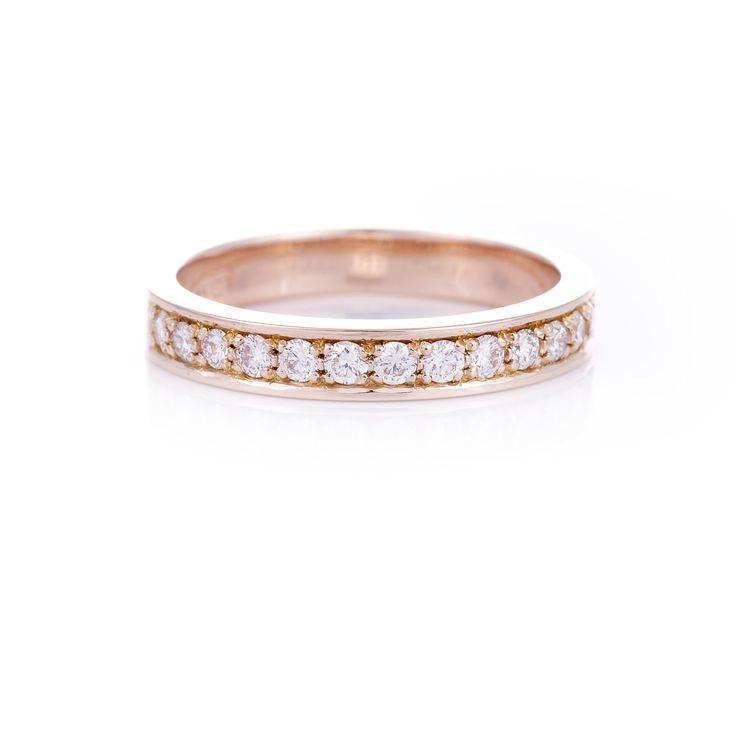 Rose gold Diamond set ladies wedding band