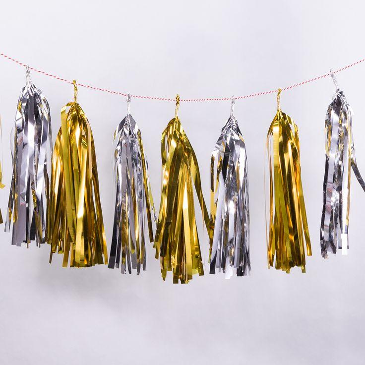 Metallic Gold / Silver Tissue Paper Tassel Garland Kit (10-PACK)