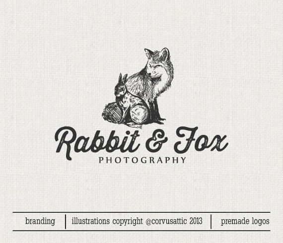 Fox and Rabbit photography logo - Eps and Png file watermark - Premade custom logo - vintage fox and rabbit  logo for photographers