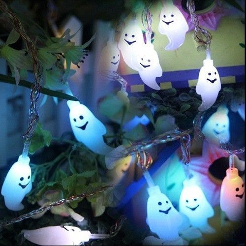 Halloween Ghost String Lights 20 LED Decoration Outdoor Indoor Lamp Colorful NEW #Unbranded