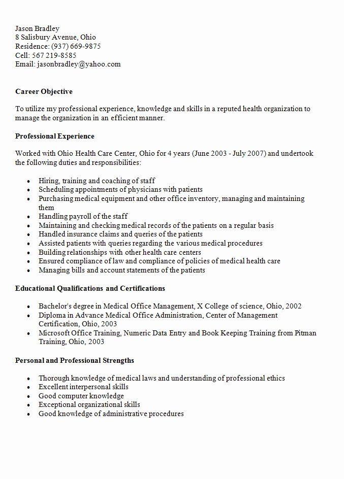 medical office resume samples lovely medical fice manager