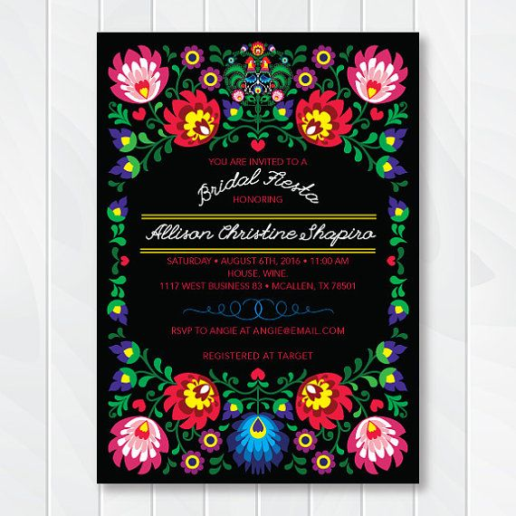 Our printable Fiesta Invitation can be customized for any type of event including: Mexican Couples Shower Invitation, Stock the Bar invite, Cinco