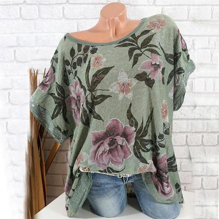 Round Neck Fashion Print Short Sleeve Shirt