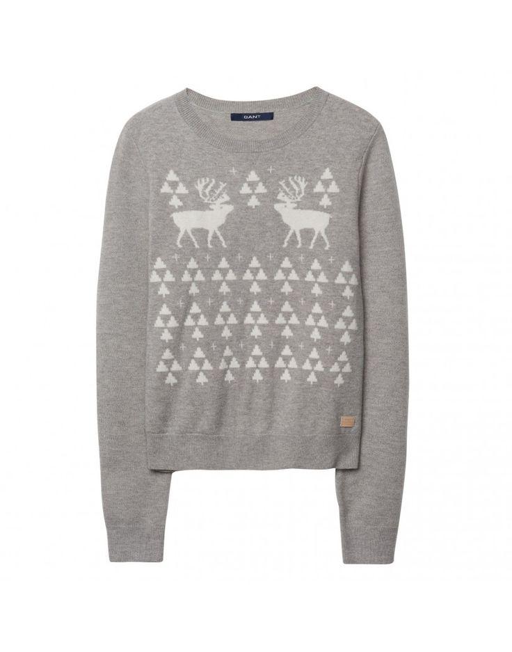 Gant Ladies' Christmas Reindeer Jumper - Grey