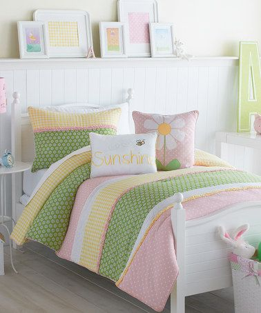 pink lazy daisy full comforter 3piece set by victoria classics on zulily today