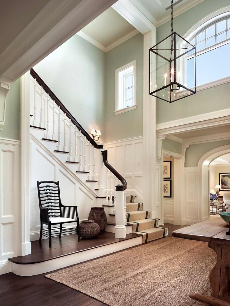 Stair hall with white paneling, aqua walls & natural seagrass rug - John B. Murray Architect. Photo by Durston Saylor, Inc - #beachy