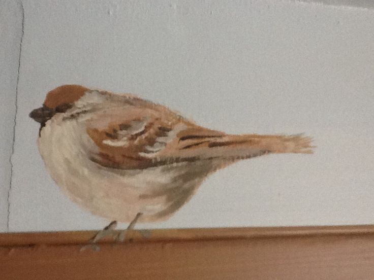 Bird painted on the wall.