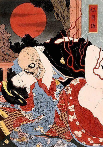La muerte y la doncella, ilustración japonesa