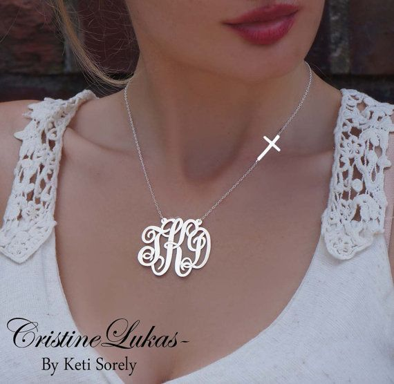 Monogrammed Initials Necklace with Celebrity Stye Sideways Cross (Order Your Initials) - Sterling Silver