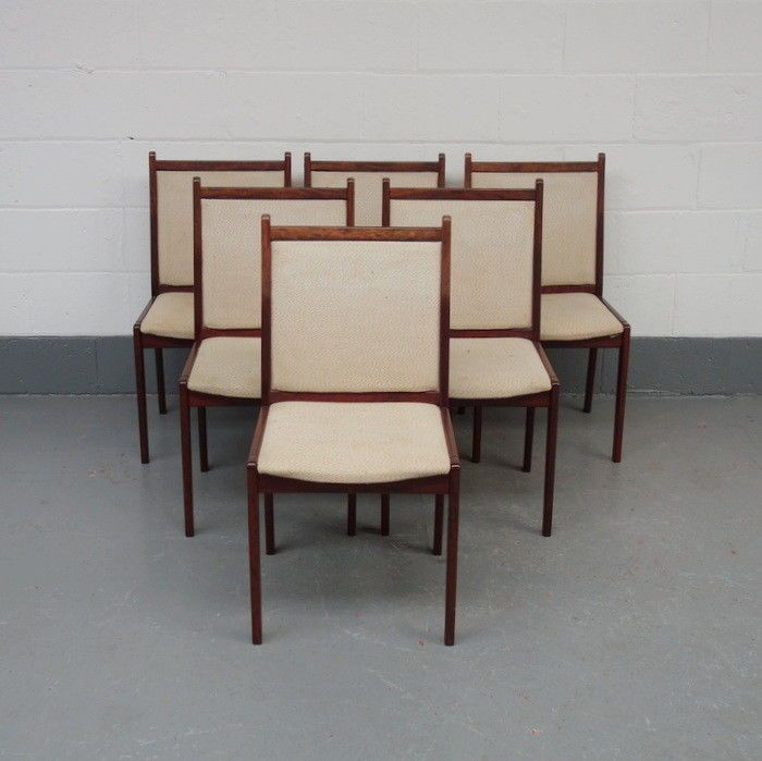 Six Danish rosewood mid century dining chairs, vintage Scandinavian 1960's retro
