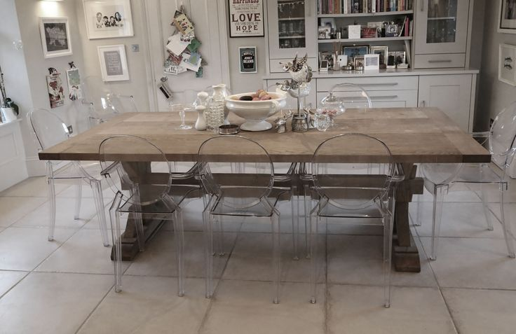 Belgian hand made table. Ghost chairs. Dining room.  Gallery - Malvini