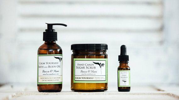 Gift Set Calm Yourself Bath Body Oil Aromatherapy by BeccaAndMars