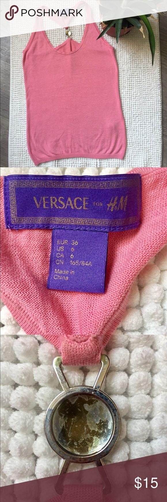 VERSACE FOR H&M Pink Top This Is A Nice Pink Top From VERSACE FOR H&M. I Was Wearing It Especially During The Summer Times. It Looks So Pretty From The Back Because Of The 'Metal Logo'. As You Can See On The Pictures That The Back Of The VERSACE 'Metal Logo' Faded Through Washing And A Tiny Little Thread Looks Out On The Back/Right Side.Of The Top. Versace for H&M Tops Tank Tops