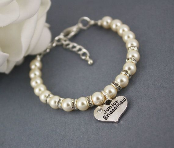 Junior Bridesmaid Bracelet, Pearl Bracelet, Swarovski Bracelet, Bridal Party Jewelry, Junior Bridesmaid Gift, Available in White or Ivory