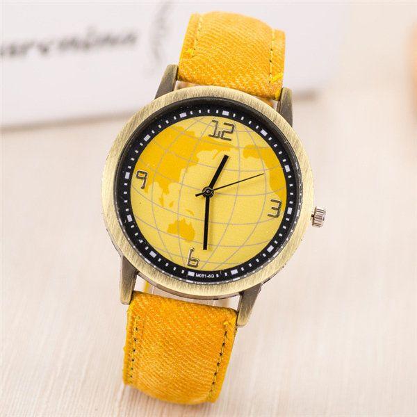 Fashion Earth Map Design Bronze Round Case Fabric Quartz Watch at Banggood