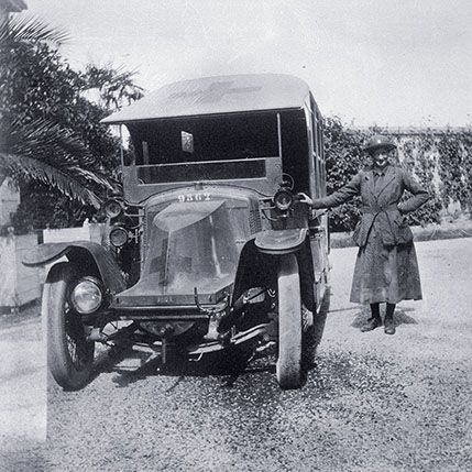 A few short years: Olive King standing beside the Alda Motor Ambulance she supplied and drove for the Scottish Women's Hospitals, 1915–16, i...