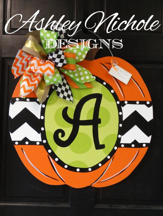 Initial Green Dot Fall Pumpkin Door Hanger, Door Decoration, Whimsical Pumpkin…                                                                                                                                                                                 More