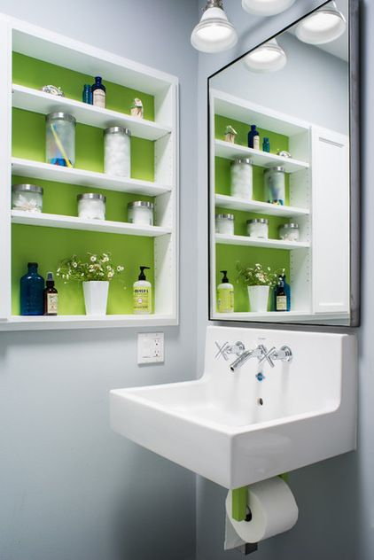 Transitional Bathroom by christie hausmann design - Great way to add a pop of color in the bathroom! #ECOSPaints #nontoxic #noVOC
