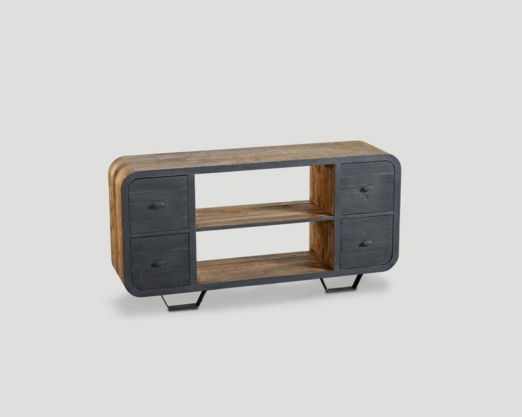 Credenza 4 cassetti, in legno vecchio riciclato finitura naturale, frontali laccati e cerati a pennello color lavagna, base in metallo finitura Ferro Brunito