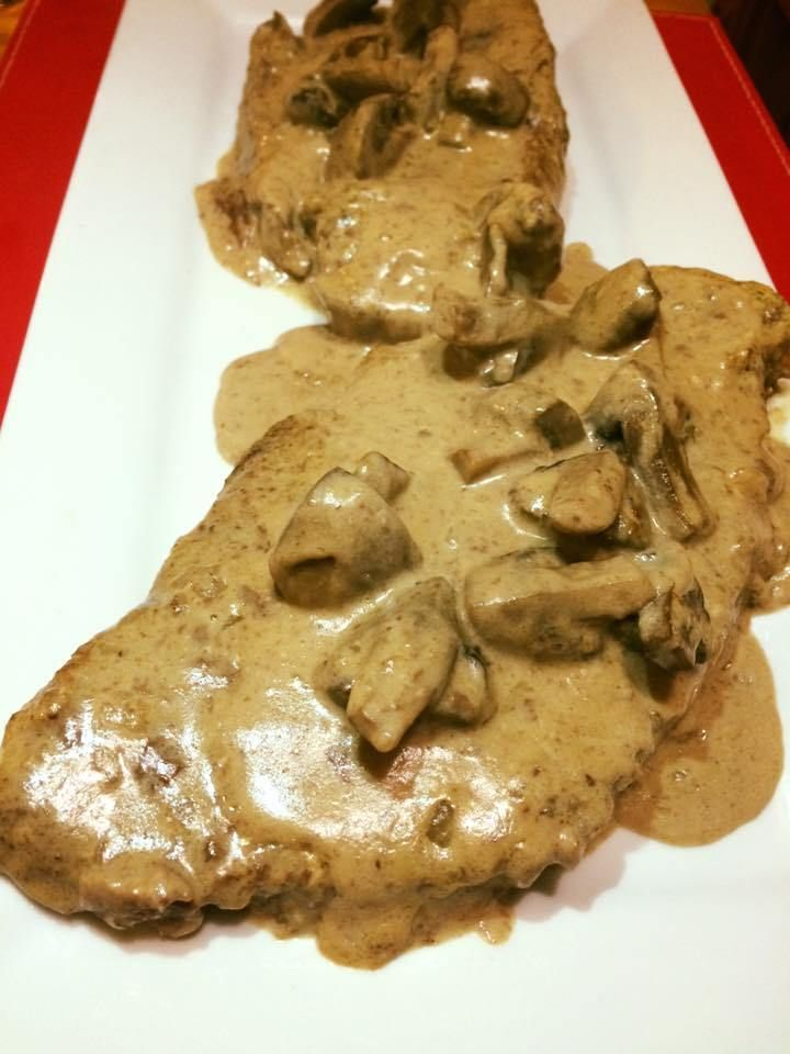 Slow Cooked Steak with Creamy Mushroom Sauce  