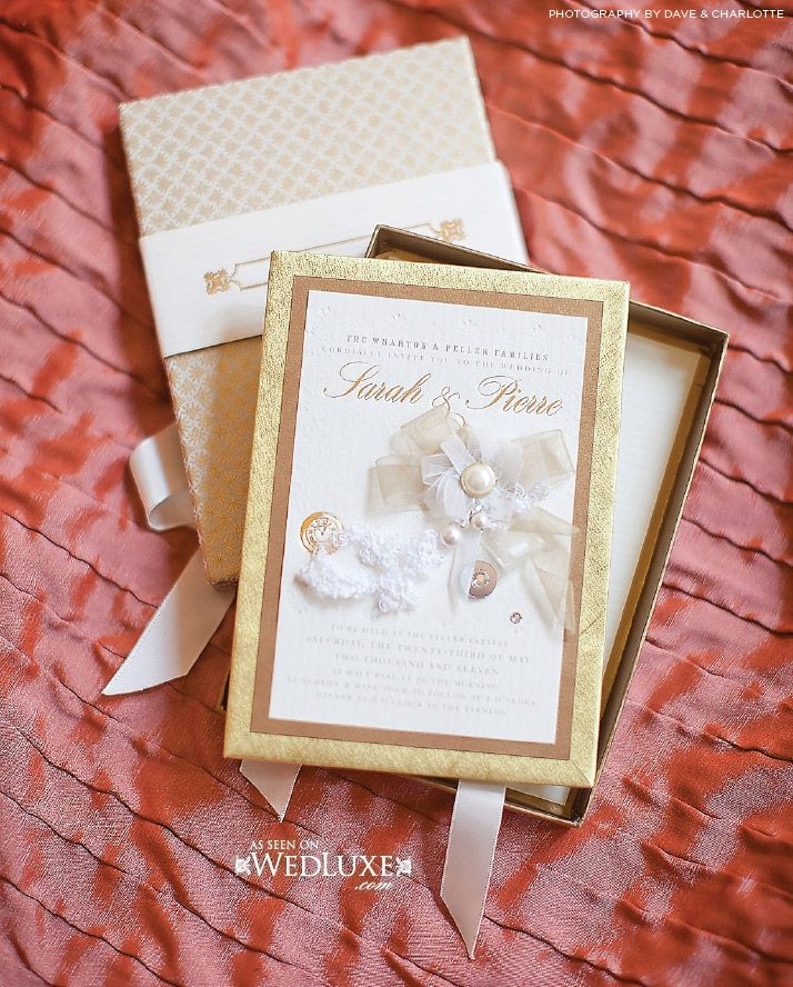 "Hand-crafted ""Timeless Royalty"" letterpress invitation design  - heirloom design for the royal wedding of any modern bride. Custom hand-crafted box and beautiful gold presswork. www.palettera.ca"