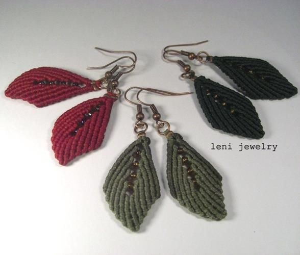 "Macrame earrings ""Aceraceae"""
