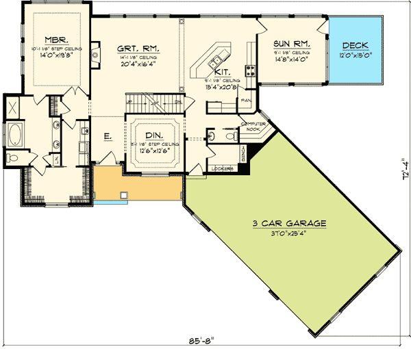 Plan 89830ah angled garage home plan bonus rooms for Angled garage house plans