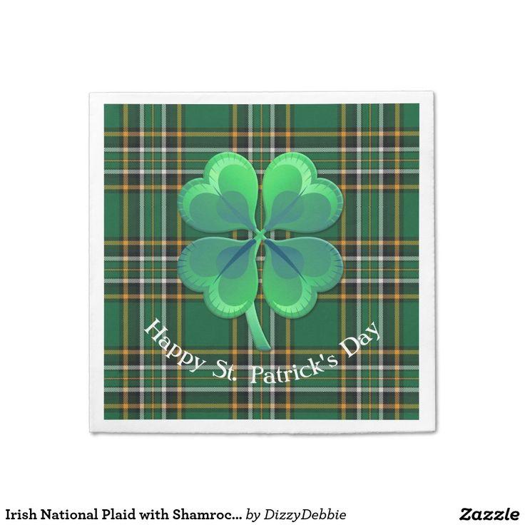 Irish National Plaid with Shamrock Paper Napkin