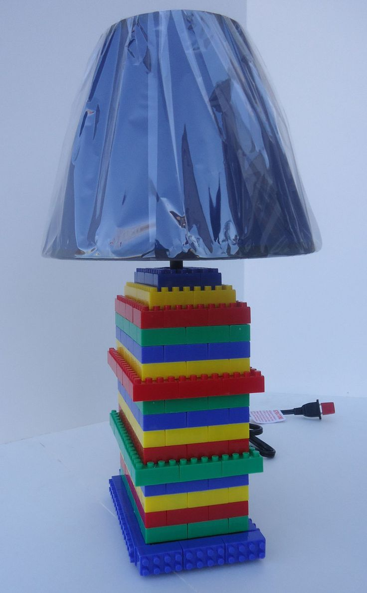 LEGO inspired Lamp with shade, great lighting for bedroom, playroom, home office, boy's room decor