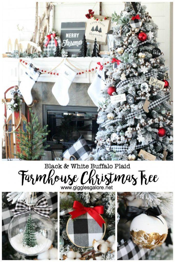 Black And White Buffalo Plaid Farmhouse Christmas Tree Christmas Tree Inspiration Farmhouse Christmas Tree Plaid Christmas Decor