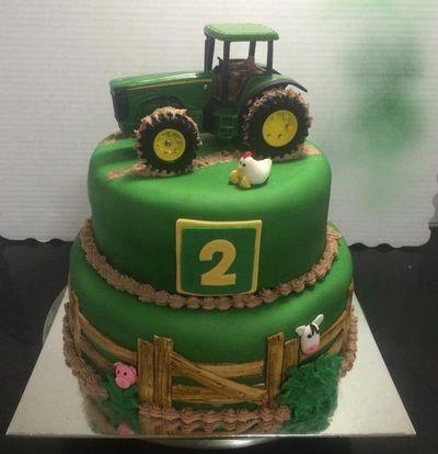 Custom Cakes made by Sugar Frenzy Wills Point, Tx. John Deere Tractor Birthday Cake