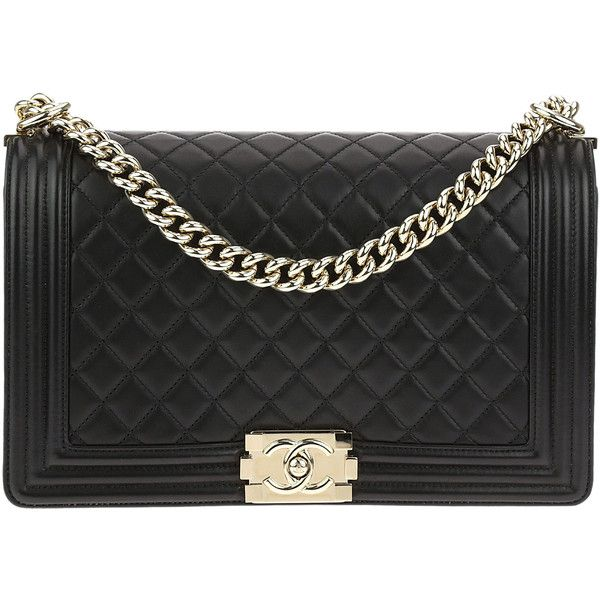 Pre-owned Chanel Black Quilted Lambskin Leather New Medium Boy Bag (£4,445) ❤ liked on Polyvore featuring bags, handbags, chanel, shoulder bag, shoulder bag purse, chanel purse and strap purse