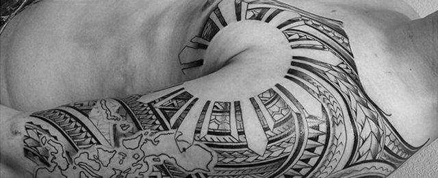 50 Filipino Sun Tattoo Designs For Men – Tribal Ink Ideas #Men_s_Style_And_Fashion #filipinotattoosmen