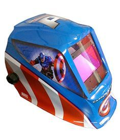 Captain America welding hood from Lincoln Electric. Click to see more Avengers themed welding hoods.