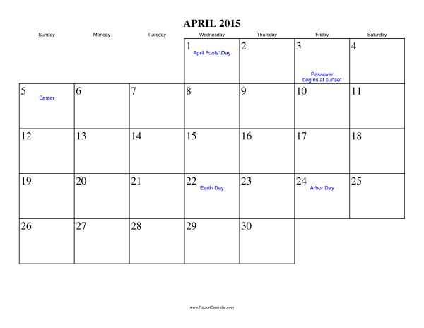 Free Printable Calendar For April 2015 View Online Or Print In Pdf