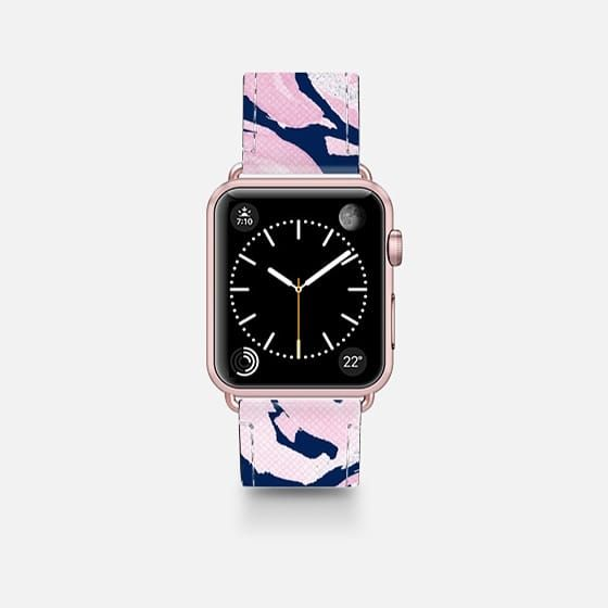 Pink Peonies on Navy -- Watercolor Florals for Apple Watch - Saffiano Leather Watch Band
