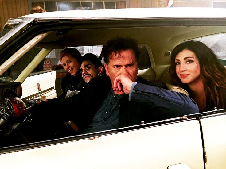 The badass brigade! Behind the scenes on #AshVsEvilDead with Lucy Lawless, Ray Santiago, Bruce Campbell & Dana DeLorenzo.