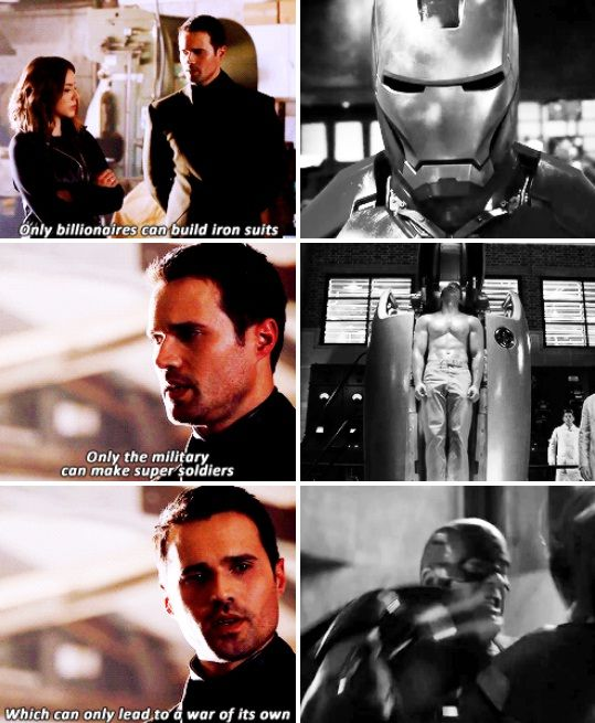 """Hive: Only billionaires can build iron suits. Only the military can make super soldiers, which can only lead to a war of its own. #Marvel Agents of S.H.I.E.L.D. #AoS #AgentsofSHIELD 3x19 """"Failed Experiments"""""""